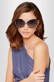 Linda Farrow Oversized butterfly-frame marbled acetate sunglasses
