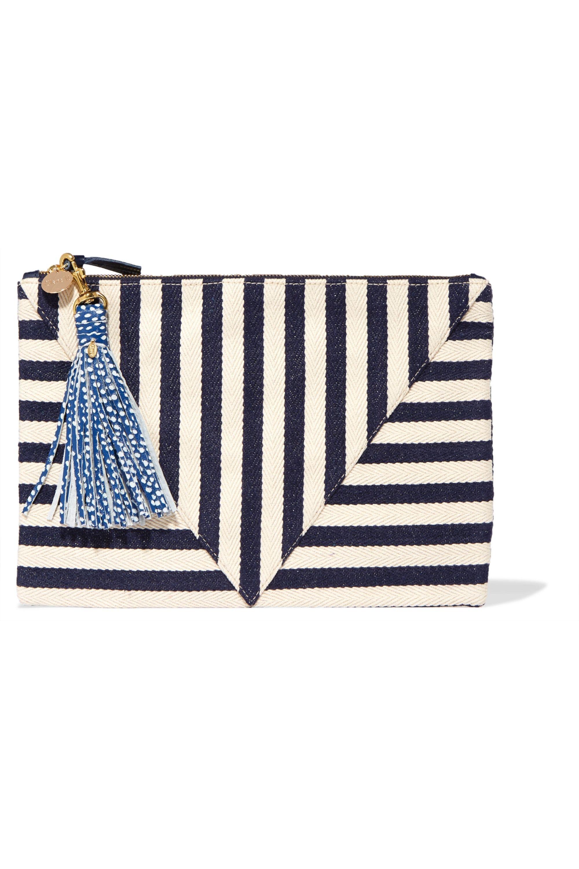 Clare V. Striped cotton-canvas clutch