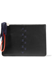 Margot woven leather clutch