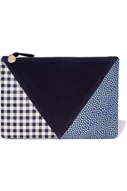 Clare V Patchwork printed leather and suede clutch