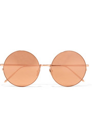 Round-frame gold-plated mirrored sunglasses