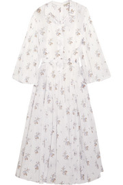 Anel floral-print cotton-voile midi dress