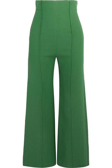 Emilia Wickstead - Hullinie Cloqué Wide-leg Pants - Dark green
