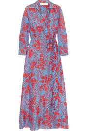 Floral-print cotton and silk-blend maxi dress