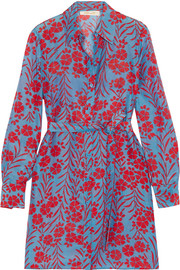 Floral-print cotton and silk-blend mini dress