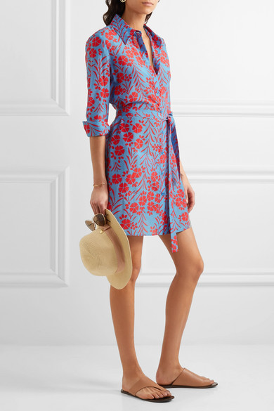Floral-print cotton and silk-blend dress Diane Von F Exclusive Sale Online Clearance Cheap Online Cheap Discount New Styles Cheap Online Cheap Sale Limited Edition y6QxC