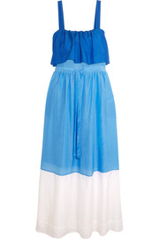 Color-block cotton and silk-blend maxi dress