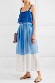 Diane von Furstenberg Color-block cotton and silk-blend maxi dress