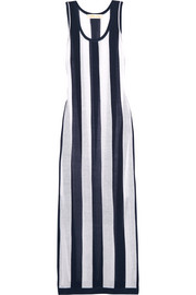Striped stretch-knit dress