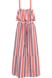 Striped cotton and silk-blend maxi dress