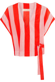 Striped cotton and silk-blend wrap top