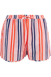 Striped cotton and silk-blend shorts