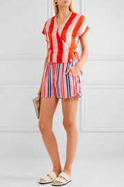 Diane von Furstenberg Striped cotton and silk-blend shorts