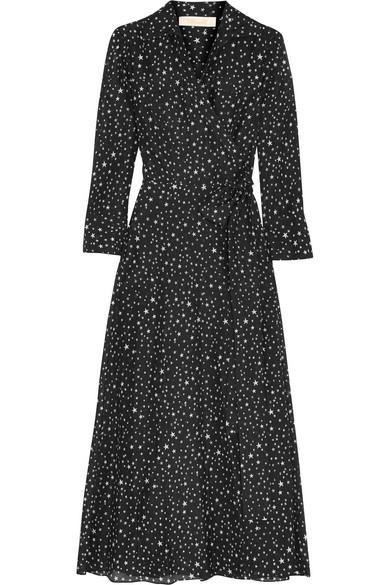 Diane von Furstenberg - Printed Cotton And Silk-blend Gauze Wrap Dress - Black