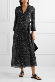 Diane von Furstenberg Printed cotton and silk-blend gauze wrap dress