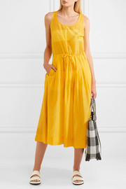 Diane von Furstenberg Pleated cotton and silk-blend gauze dress