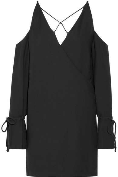 IRO - Lebeca Cold-shoulder Wrap-effect Crepe Mini Dress - Black