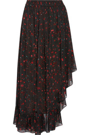 IRO Jonel asymmetric ruffled printed georgette midi skirt