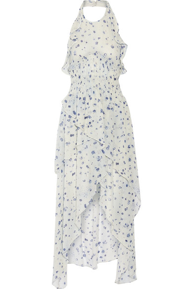 IRO - Jessy Ruffled Printed Chiffon Halterneck Dress - Sky blue