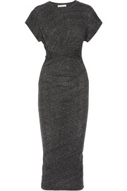 Pacson twist-front mélange cotton and modal-blend dress