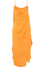 Altara asymmetric draped crepe de chine midi dress