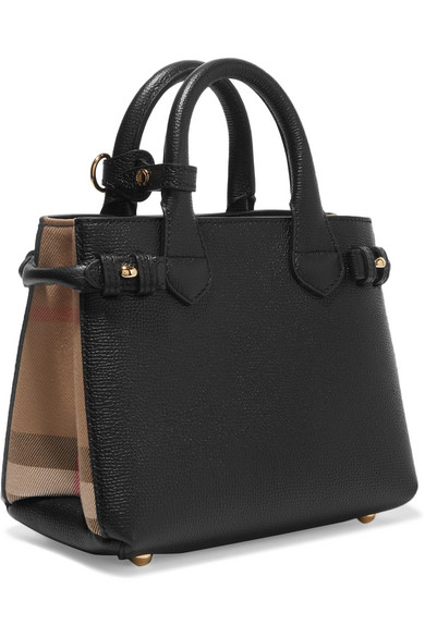 Textured-leather And Checked Canvas Tote - Black Burberry w7zmYdHT