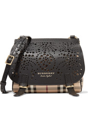 Checked textured and perforated leather shoulder bag