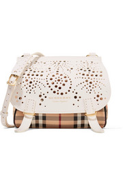 Perforated checked textured-leather shoulder bag