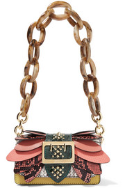 Burberry Embellished watersnake, ostrich and textured-leather shoulder bag