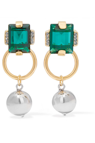 Marni - Gold And Silver-tone Crystal Earrings - Green