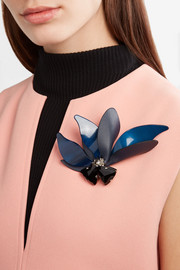 Marni Silver-tone, horn, leather and crystal brooch