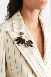 Marni Gold-plated, crystal and horn brooch