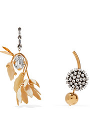 Gold-tone, crystal and horn earrings