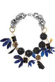 Marni Gold-plated, silver-tone, crystal and horn necklace