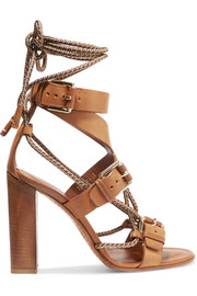 Rope-trimmed leather sandals