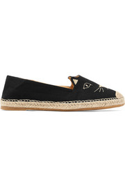 Charlotte Olympia Kitty embroidered canvas espadrilles