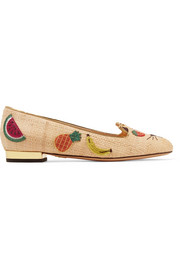 Fruit Kitty embellished raffia ballet flats