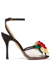 Charlotte Olympia Tropicana embellished canvas and PVC sandals