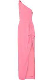 Halston Heritage One-shoulder draped stretch-crepe gown