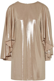 Halston Heritage Draped lamé mini dress