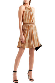 Halston Heritage Metallic stretch-jersey mini dress