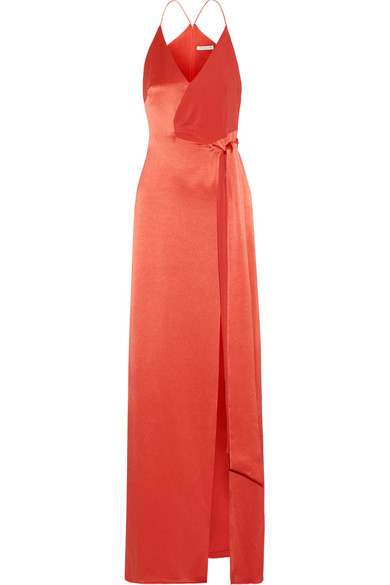 Halston Heritage - Wrap-effect Crepe-paneled Satin Gown - Brick