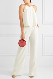 Halston Heritage Layered open-back crepe jumpsuit