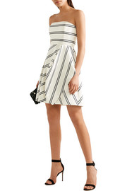 Halston Heritage Strapless striped satin-twill mini dress