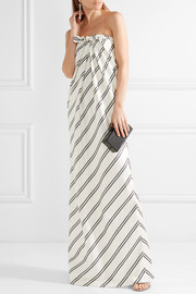 Halston Heritage Strapless striped satin-twill gown