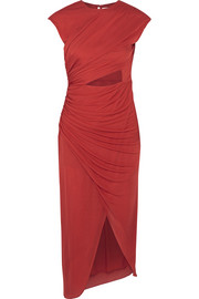 Halston Heritage Cutout ruched stretch-jersey dress