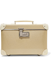 Champagne 13'' leather-trimmed fiberboard vanity case