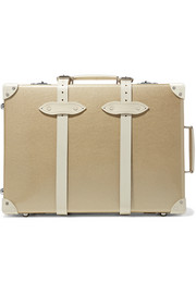 Champagne 21'' leather-trimmed fiberboard travel trolley