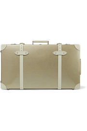 Champagne 30'' leather-trimmed fiberboard travel trolley