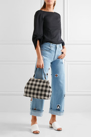 Elegant checked canvas tote
